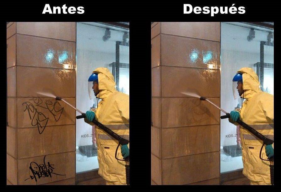 Limpieza grafitis escaparates
